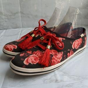 Kate Spade Keds, black red pink floral, size 7